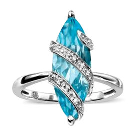 Swiss Blue Topaz (Mrq) Solitaire Ring in Sterling Silver 2.250 Ct.