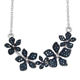 Kimberley Forget Me Not Collection - Blue Diamond (Rnd) Floral Necklace (Size 18) in Platinum Overlay Sterling Silver 0.500 Ct.