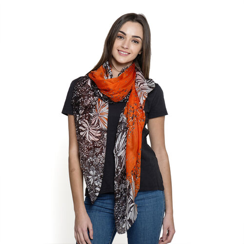 100% Silk Orange and Brown Colour Abstract Pattern Pareo (Size 180x100 Cm)
