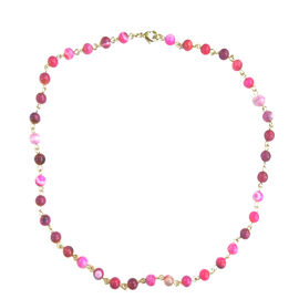 Pink Agate (Rnd) Necklace (Size 17) and Bracelet (Size 7 with 1 inch Extender) in Yellow Gold Bond 144.000 Ct.
