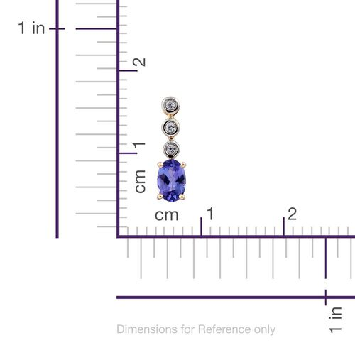 9K Y Gold AA Tanzanite (Ovl), Natural Cambodian Zircon Earrings (with Push Back) 0.990 Ct.
