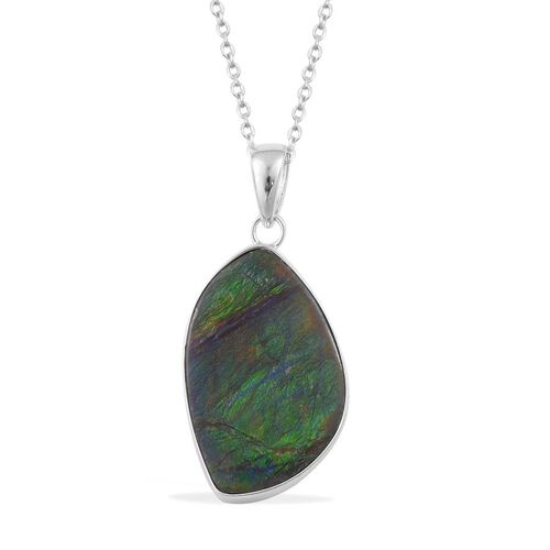Canadian Ammolite Pendant With Chain in Rhodium Plated Sterling Silver 14.783 Ct.