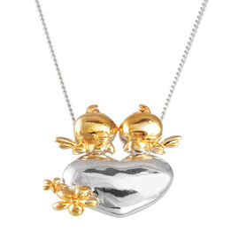 Platinum and Yellow Gold Overlay Sterling Silver Bird and Heart Pendant With Chain, Silver wt 5.42 Gms.