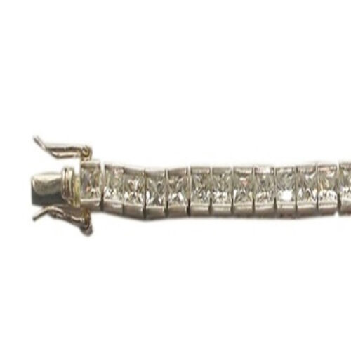 ELANZA AAA Simulated Diamond (Sqr) Bracelet (Size 7.5) in Rhodium Plated Sterling Silver
