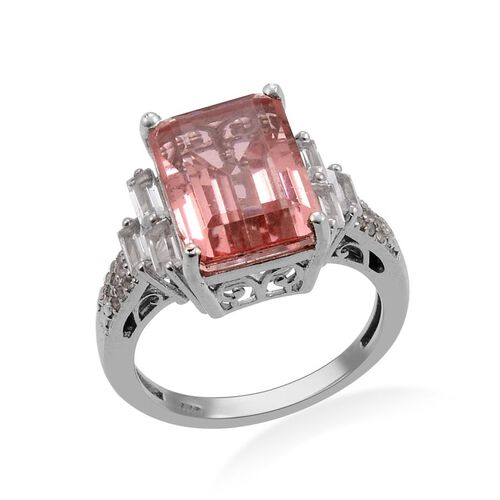 Morganite Colour Quartz (Oct 7.25 Ct), White Topaz Ring in Platinum Overlay Sterling Silver 8.500 Ct.