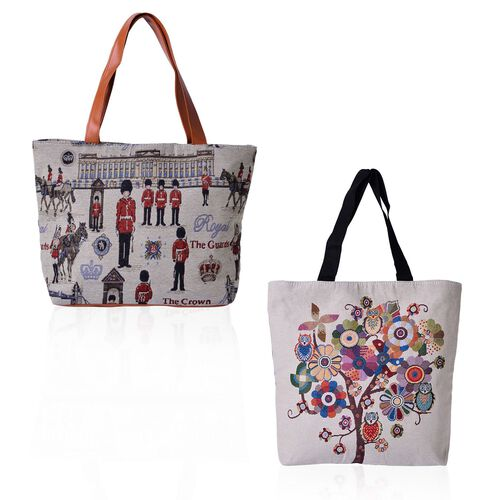 Set of 2 - Multi Colour Tree, Owl Pattern and Crown, Soldiers Pattern Beige Colour Handbag (Size 45x30x10 Cm, 45x40x10 Cm)