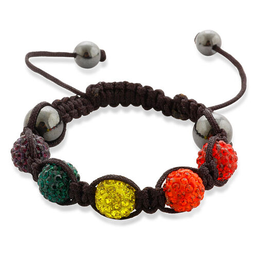 Multi Colour Austrian Crystal and Hematite Bracelet (Adjustable)