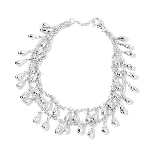 LucyQ Multi Drip Bracelet (Size 8) in Rhodium Plated Sterling Silver 23.47 Gms.