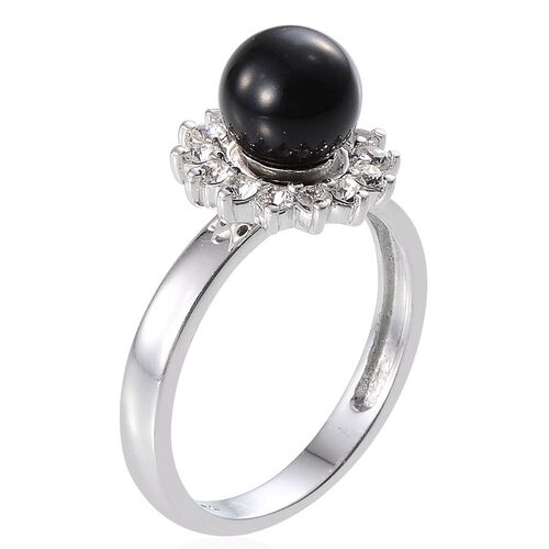 Crystal from Swarovski - Mystic Black Pearl Crystal (Rnd), Gold Pearl, Cream Pearl, Rose Pearl and White Austrian Crystal Interchangeable Ring in Platinum Overlay Sterling Silver
