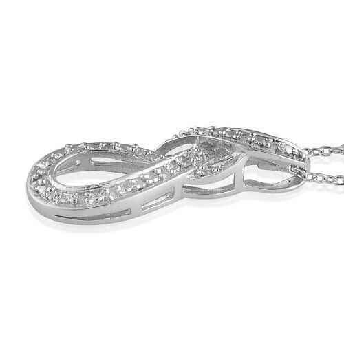 Diamond Infinity Pendant With Chain Set in Platinum Overlay Sterling Silver  0.050  Ct.