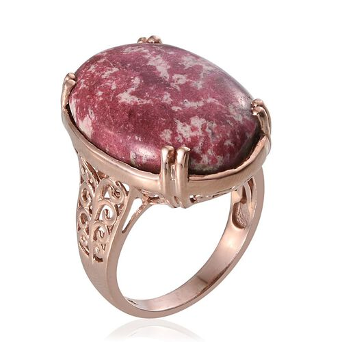 Norwegian Thulite (Ovl) Ring in Rose Gold Overlay Sterling Silver 25.000 Ct.