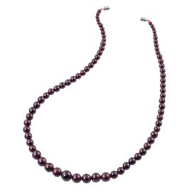 Hand Polished Red Garnet Graduated (Size 6-12 mm) Round Bead Necklace (Size 24) with Magnetic Clasp 430.000 Ct.