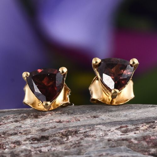 AA Umba River Zircon (Trl) Stud Earrings (with Push Back) in 14K Gold Overlay Sterling Silver 1.250 Ct.