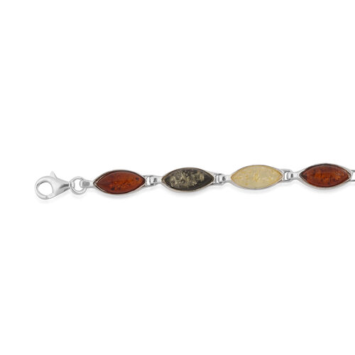 Baltic Multi Colour Amber (Mrq) Bracelet (Size 8) in Sterling Silver