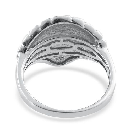 Platinum Overlay Sterling Silver Shell Ring, Silver wt 6.29 Gms.