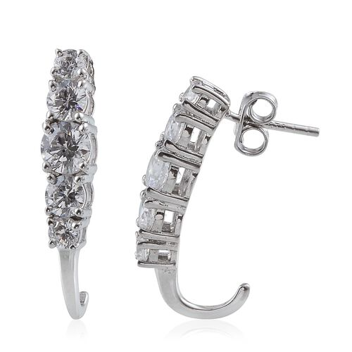 J Francis - Platinum Overlay Sterling Silver (Rnd) J Hoop Earrings (with Push Back) Made With SWAROVSKI ZIRCONIA