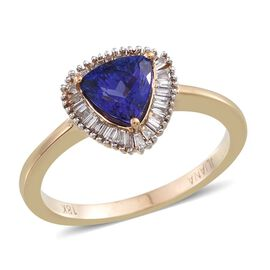 ILIANA 18K Y Gold AAA Tanzanite (Trl 1.10 Ct), Diamond Ring 1.250 Ct.