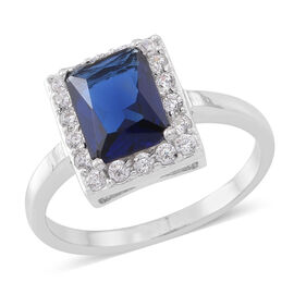 ELANZA AAA Simulated Ceylon Sapphire (Oct), Simulated White Diamond Ring in Rhodium Plated Sterling Silver