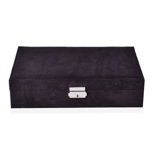 Black Velvet Two Layer Jewellery Box with Removable Rings, Earrings Tray and Watch Slot and Section Storage with Mirror Inside (Size 28x19x7 Cm)