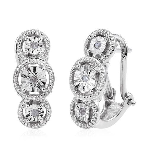 Diamond (Rnd) Earrings (with French Clip) in Platinum Overlay Sterling Silver 0.060 Ct.