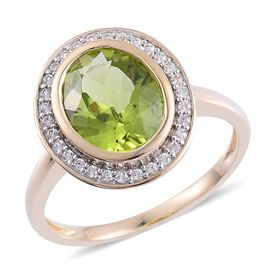 9K Y Gold AAA Hebei Peridot (Ovl 3.50 Ct), White Zircon Ring 3.750 Ct.