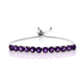 Amethyst (Rnd) Adjustable Bracelet (Size 7 to 8) in Platinum Overlay Sterling Silver 5.750 Ct.