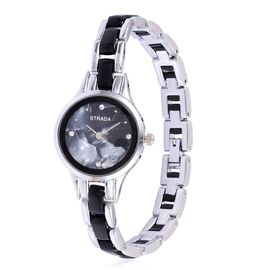 STRADA Japenese Movement White Austrian Crystal Studded Black Dial Water Resistant Watch in Silver Tone with Stainless Steel Back and Black and White Strap