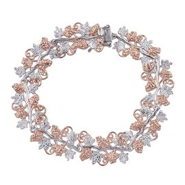 Stefy Pink Sapphire (Rnd) Bracelet (Size 7.5) in Rose Gold and Platinum Overlay Sterling Silver.Silver Wt. 23.40 Gms