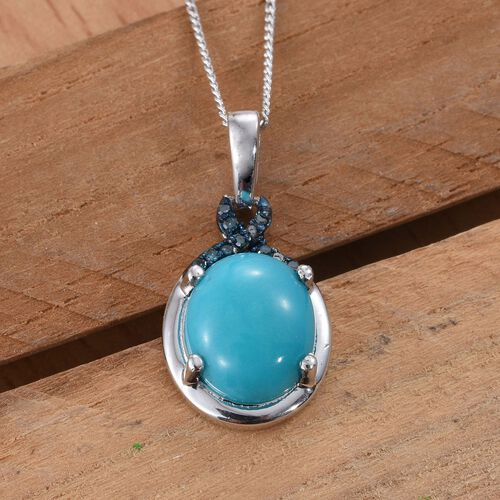 Arizona Sleeping Beauty Turquoise (Ovl), Blue Diamond Pendant with Chain in Platinum Overlay Sterling Silver 2.500 Ct.