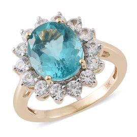 Super Rare-9K Y Gold AAA Paraiba Apatite (Ovl 3.80 Ct), Natural Cambodian Zircon Ring 5.500 Ct.