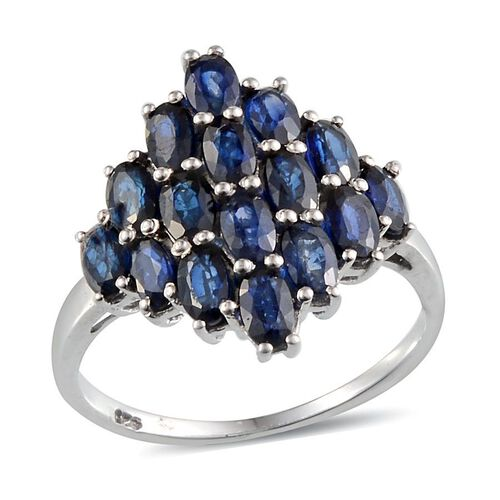 Diffused Blue Sapphire (Ovl) Cluster Ring in Platinum Overlay Sterling Silver 5.500 Ct.