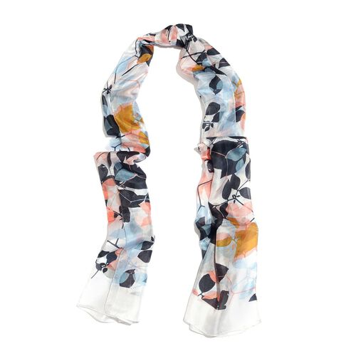 100% Mulberry Silk White, Pink and Multi Colour Leaves Hand Screen Printed Scarf (Size 180X50 Cm)