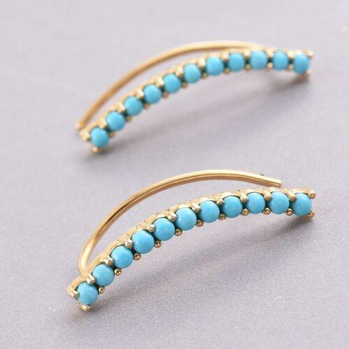 Arizona Sleeping Beauty Turquoise Silver Ear Climber Earrings in Gold Overlay