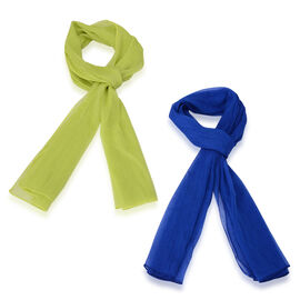 Set of 2 - Designer Inspired Royal Blue and Lime Green Colour Scarf (Size 175x60 Cm)
