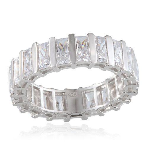 J Francis - Platinum Overlay Sterling Silver (Bgt) Full Eternity Ring Made with SWAROVSKI ZIRCONIA 7.700  Ct.