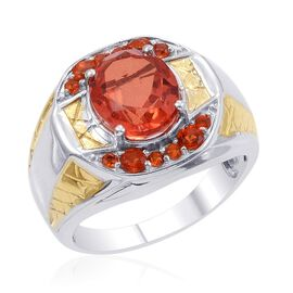 Designer Collection Sunfire Orange Doublet Quartz (Ovl 5.16 Ct), Jalisco Fire Opal Ring in 14K YG and Platinum Overlay Sterling Silver 5.810 Ct.