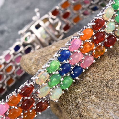 AA Ethiopian Welo Opal (Ovl), Green, Blue, Orange, Pink and Red Ethiopian Opal Bracelet (Size 7.5) in Platinum Overlay Sterling Silver 15.000 Ct.