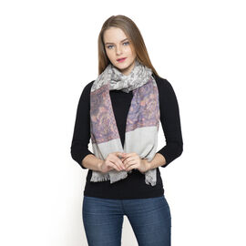 DOD - Grey, Pink and Multi Colour Floral Pattern Scarf (Size 180x70 Cm)