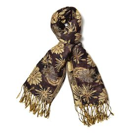Dark Chocolate Floral Pattern Scarf with Tassels (Size 170x65 Cm)