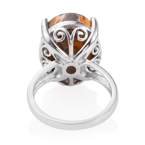 Bumble Bee Jasper (Ovl) Ring in Platinum Overlay Sterling Silver 12.250 Ct.
