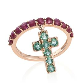 9K Yellow Gold 2 Carat Burmese Ruby, Kagem Zambian Emerald Cross Charm Ring.