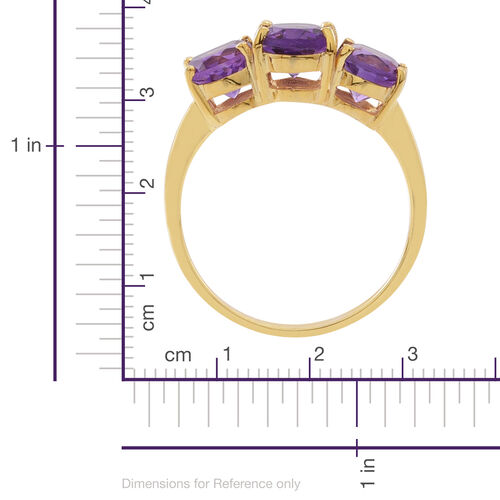 Amethyst (Ovl 1.70 Ct) 3 Stone Ring in Yellow Gold Overlay Sterling Silver 4.000 Ct.