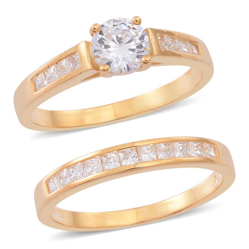 Set of 2 - ELANZA AAA Simulated Diamond (Rnd) Ring in 14K Gold Overlay Sterling Silver