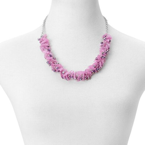 Simulated Amethyst and Purple Colour Leaves Necklace (Size 25 with Extender) in Silver Tone