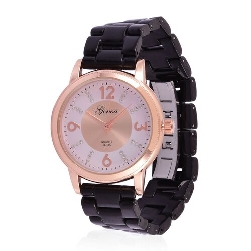 GENOA Japanese Movement White Austrian Crystal Studded White and Rose Gold Colour Dial Water Resistant Watch in Rose Gold Tone with Stainless Steel Back and Black Ceramic Strap