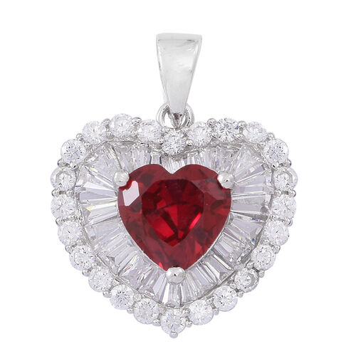 ELANZA AAA Simulated Ruby (Hrt), Simulated White Diamond Pendant in Rhodium Plated Sterling Silver