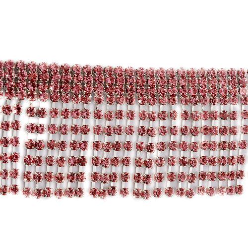 Pink Austrian Crystal Bracelet in Silver Tone (Size 7.5)