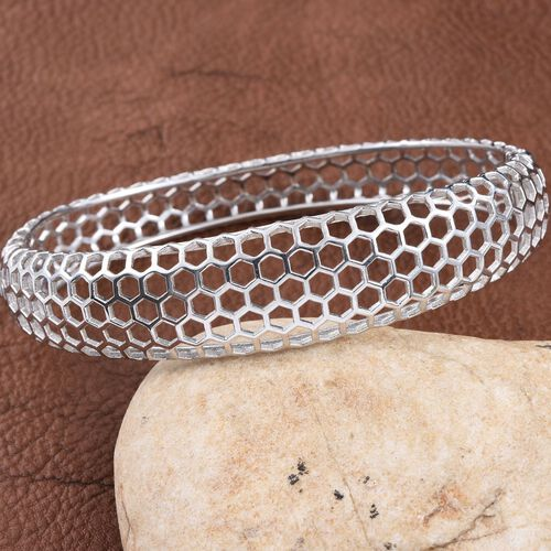 Designer Inspired Platinum Overlay Sterling Silver Honey Comb Bangle (Size 7.5), Silver wt 22.00 Gms.