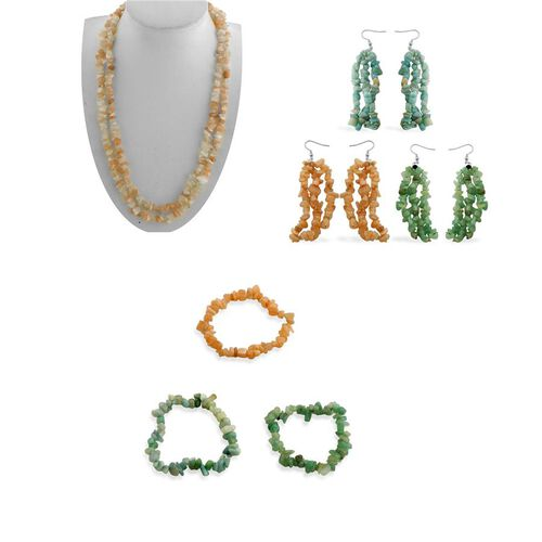 Set of 7 Pcs - Amazonite, Green Aventurine, Peach and White Moonstone Necklace (Size 50), Hook Earrings and Bracelet (Stretchable) in Stainless Steel 928.000 Ct.