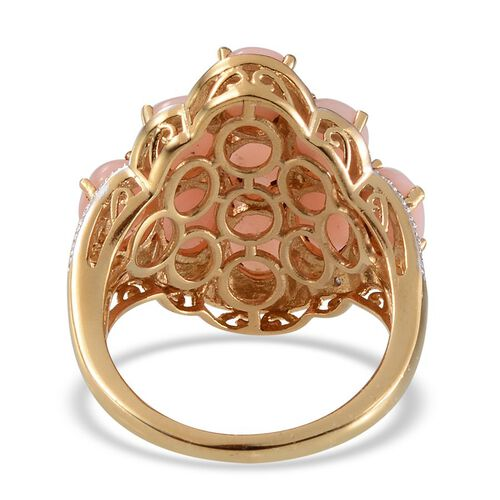 Peruvian Pink Opal (Ovl), Diamond Cluster Ring in Yellow Gold Overlay Sterling Silver 6.770 Ct.